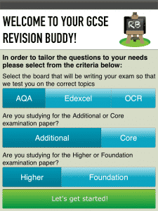 This image shows how users can select content from different exam boards, tiers and levels.